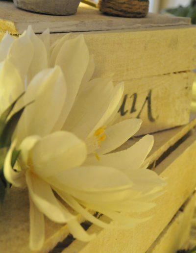 Saisonale Dekoration mit weißen Holzkisten und Seerose